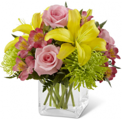 "The FTD ""Well Done"" Bouquet brings together bright roses and sunny Asiatic lilies to congratulate your special recipient on a job well done! Pink roses, green Fuji chrysanthemums, pink Peruvian lilies, yellow Asiatic lilies and lush greens create a colorful, celebratory flower bouquet arranged within a clear glass cubed vase to add to the festivities of their happy day. GOOD bouquet includes 9 stems. Approx. 9""H x 11""W. BETTER bouquet includes 14 stems. Approx. 10""H x 12""W. BEST bouquet includes 19 stems. Approx. 12""H x 14""W. <br>"