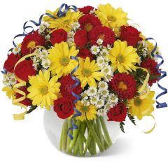 Happy Birthday! It's all for you! All your wishes for the best birthday ever are packed into this radiant bouquet. Bright red roses and Matsumoto asters contrast with sunny yellow daisies and white monte casino. Curling ribbon adds a festive finishing touch. <br>