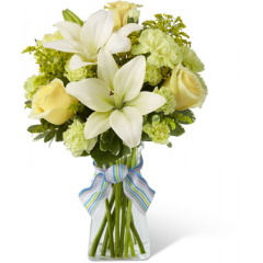 """The FTD Boy-Oh-Boy Bouquet employs roses and Asiatic lilies to send your bright and sunny congratulations on the birth of their new baby boy! Yellow roses and carnations are brought together with pale green mini carnations, white Asiatic lilies, yellow solidago and lush greens exquisitely arranged in a clear glass gathered square vase. Accented with blue and lavender wired ribbon, this bouquet creates a wonderful way to send your warmest wishes for the adventure of parenthood ahead. GOOD bouquet includes 10 stems. Approx. 14""""H x 11""""W. BETTER bouquet includes 16 stems. Approx. 18""""H x 13""""W. BEST bouquet includes 21 stems. Approx. 19""""H x 14""""W. <br>"""