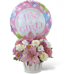 """The FTD Girls Are Great! Bouquet is blooming with sweet love to congratulate the new family on their darling baby girl! White roses, white Peruvian lilies, pink carnations, pink matsumoto asters, pink Asiatic lilies and lush greens are beautifully arranged in a round whitewash woodchip basket. Presented with a Mylar balloon declaring, """"It's a Girl!"""" this incredible flower arrangement is the perfect welcome for their new addition. GOOD bouquet includes 12 stems. Approx. 11""""H x 11""""W. BETTER bouquet includes 15 stems. Approx. 13""""H x 13""""W. BEST bouquet includes 19 stems. Approx. 13""""H x 15""""W.  <br>"""