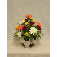 """Soccer fans will love this novelty arrangement of carnations and poms.  Approx. 13""""H x 10""""W"""