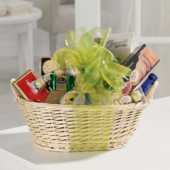 Gift basket with gourmet items.  Substitutions may be necessary depending on availability of product.