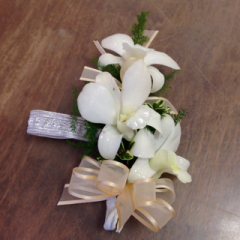 3 Dendrobium Orchid florettes on a wristlet corsage with your choice of orchid and ribbon color, let us know in the special instructions which ribbon color.  You can add filler with the option below.
