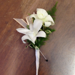 2 Dendrobium Orchid florette boutonniere with your choice of orchid and ribbon color, let us know in the special instructions which ribbon color.  You can add filler with the option below.