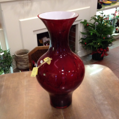 23.5 inches tall, this beautiful scarlet vase, made in Poland by the artist Jarek Kozlowski.
