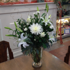 "A beautiful arrangement of all white flowers, grown in California!  Approx. 31""H x 25""W"