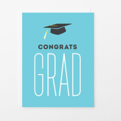 Sacramento local, Graphic Anthology makes whimsical greetings. <br> Send wishes of Congratulations to your Grad, with this cute card! <br>  We are happy to hand write a card for you, add your message in the choose message field and note that you would like it handwritten card. <br> - Card measure 4.25 x 5.5 inches - Blank inside for your personal message - Printed on white heavyweight card stock - Paired with a coordinating envelope
