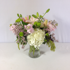 """A peaceful, soft color arrangement in a gathering vase.  Approx. 15""""H x 15""""W"""