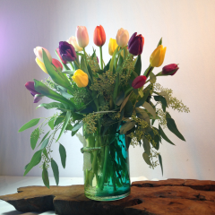 "A beautiful arrangement of tulips in a vase.  Arrangement will be  assorted color tulips. Approx 15""H x 15""W"
