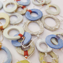"""WITT & LORE """"O"""" EARRINGS, HANDMADE CERAMICS WITH ON 14K GOLD OR STERLING SILVER EAR HOOKS.  THESE BEAUTIFULLY CRAFTED PIECES ARE MADE DOWN THE STREET AND COME IN MULTIPLE COLORS.  PLEASE SPECIFY COLOR, CHOOSE FROM: WHITE, BLUE, YELLOW, BEIGE, GRAY. CALL FOR MORE DETAILS."""