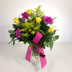 "Let someone know they're the best with this arrangement of sweetheart roses, carnations, and solidago.  Approx. 18""H x 13""W"