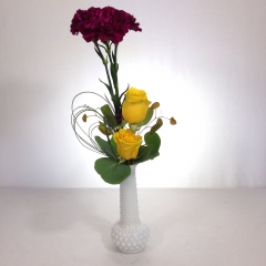 "Roses and carnations in a hobnail bud vase.  Approx. 18""H"