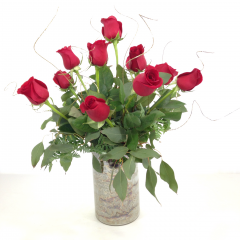 "A dozen red roses with gold ting-ting in a beautiful gold and white cylinder vase.  Approx. 21""H x 18""W"