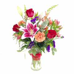 THIS BOUQUET GIVES BACK, 10% of the sale price are matched by RELLES FLORIST and donated to a cause..  THIS WEEKS PROCEEDS WILL BE DONATED TO THE  relief efforts of those affected by the wildfires in California, our friends and farmers.  A beautiful bouquet of star gazers, carnations and roses and more.