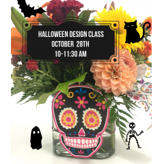Make flowers for your BOO or you with a colorful Halloween themed arrangement in our DIY class. Create a spooky centerpiece with our fall flowers. All supplies are included, just bring an apron if you want and a smile. Limited class size, register online or call to reserve your spot at 916-441-1478.  Class is Saturday, October 28th 10-11:30am  $40 per person.    (arrangement shown for display purposes only, container, flowers, and decor may vary)
