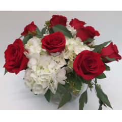 KD-2216 Bowl of Elegant Roses and Hydrangeas - As Shown