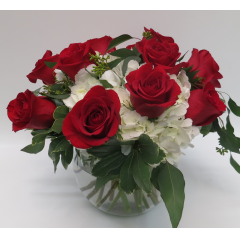 KD-2216 Bowl of Elegant Roses and Hydrangeas - Deluxe