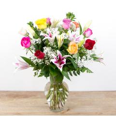 Color Timeless Jewel<br><i>1 dozen roses & lilies</i><br />