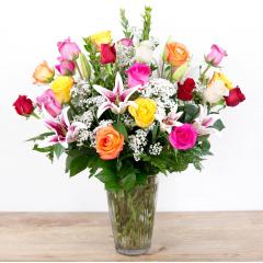 Color Timeless Jewel<br><i>2 dozen roses & lilies</i><br />