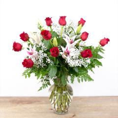 Red Timeless Jewel<br><i>1 dozen roses & lilies</i><br />