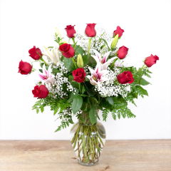 Red Timeless Jewel<br><i>1 dozen roses & lilies</i><br />