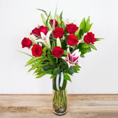 Red Timeless Jewel<br><i>1 dozen modern roses & lilies</i><br />