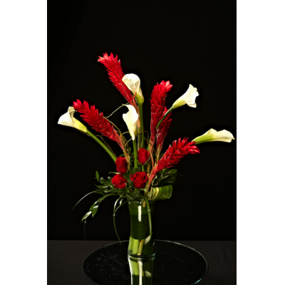 Ninth Street Flowers Durham - Beautiful Red Torch Ginger and Open Cut Callas combine with roses for a unique and exotic holiday arrangement..