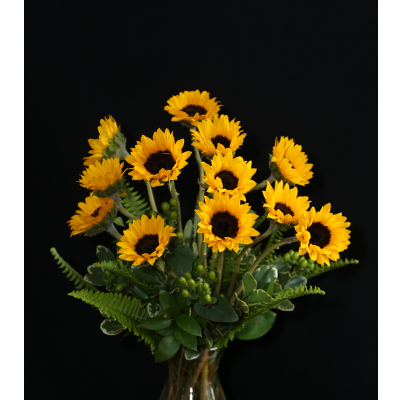 Ninth Street Flowers Durham - Simply Sunflowers...12, 17 or 23--your choice. A great arrangement to highlight one of summers favorites!