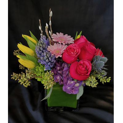 Ninth Street Flowers Durham - A fragrant springtime arrangement featuring hyacinth, roses, Gerber daisies, tulips & hydrangeas.