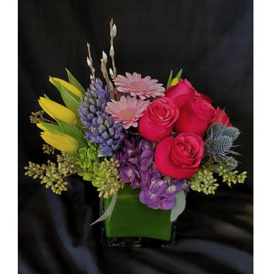 Ninth Street Flowers Durham - A fragrant springtime arrangement featuring hyacinth, roses, Gerber daisies, tulips & hydrangeas.