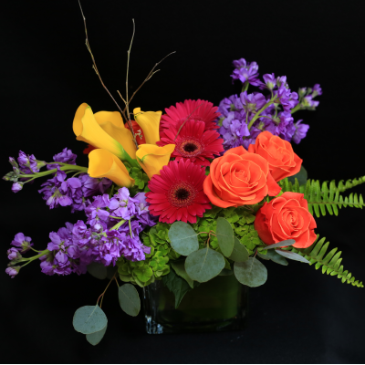 Ninth Street Flowers Durham - A bright, colorful, compact arrangement featuring a base of hydrangeas, with Gerber daisies, stock, roses & mini calla lilies.