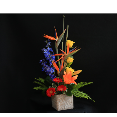 Ninth Street Flowers Durham -  Modern Contemporary style arrangements are distinct in their dramatic and strong lines. Our award winning designers will pick a selection of seasonal flowers and greenery to make this dramatic contemporary styled arrangement stand apart. Flowers may vary.  Container may vary.