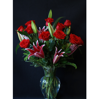 Ninth Street Flowers Durham - Beautiful roses and long lasting, locally grown fragrant lilies are gorgeous together in a colorful display.