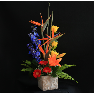 Ninth Street Flowers Durham - Dramatic and colorful, a tall display of birds of paradise, delphiniums, roses, lilies, Gerber daisies, aspidistra, embellished with bamboo. Note: container may vary.