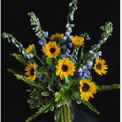Ninth Street Flowers Durham - A Summertime garden mix of Sunflowers and Blue Delphinium.