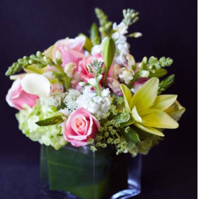 Ninth Street Flowers Durham - Soft pink roses, green Asiatic lilies and green hydrangea delicately combine in this peaceful and serene arrangement.