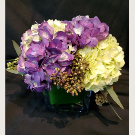 Ninth Street Flowers Durham - European compact of garden hydrangea and greenery. Colors may vary.